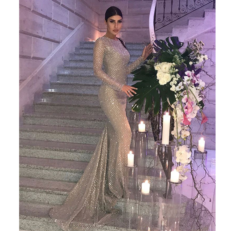 Silver Gold Glittered Maxi Dress Patchwork Backless Glitters Full Sleeved Mermaid Dresses Evening Party Floor Length Dresses