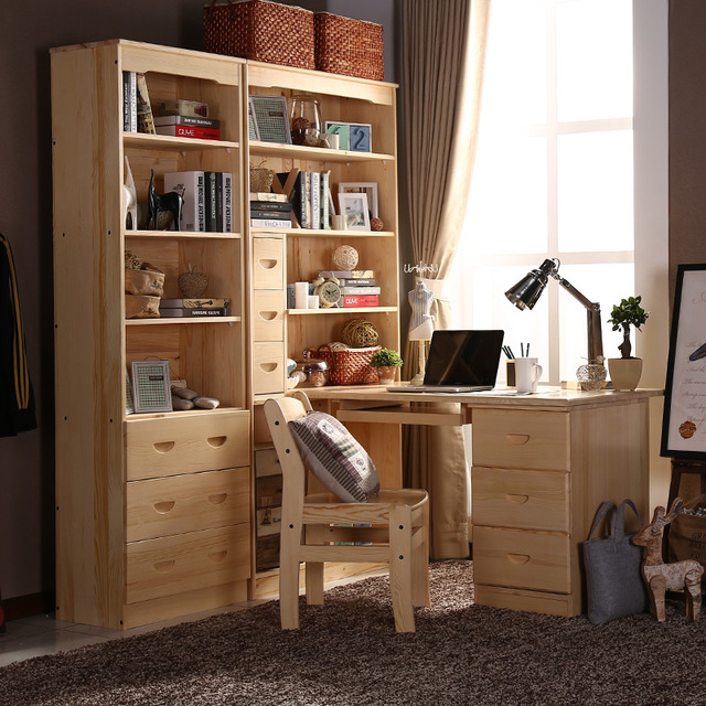 Bureau en bois tout solide combinaison bibliothèque ordinateur ...