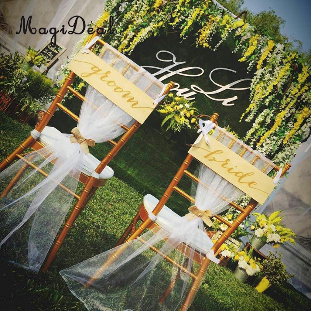 MagiDeal Vintage Bride Groom Wedding Chair Sign Handheld Photo Prop Wood Hanging