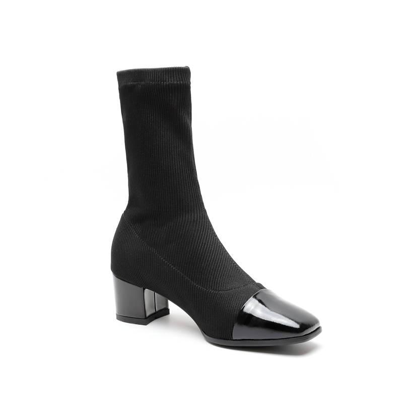 coffee Zapatos Botas Para Tacones Dedo Morazora Altos Mujeres Otoño Alta Negro Calidad Del 2018 Las Tobillo Femeninos De Pie Charol Estiramiento Cuadrados Calcetines XZxwBYTWqw