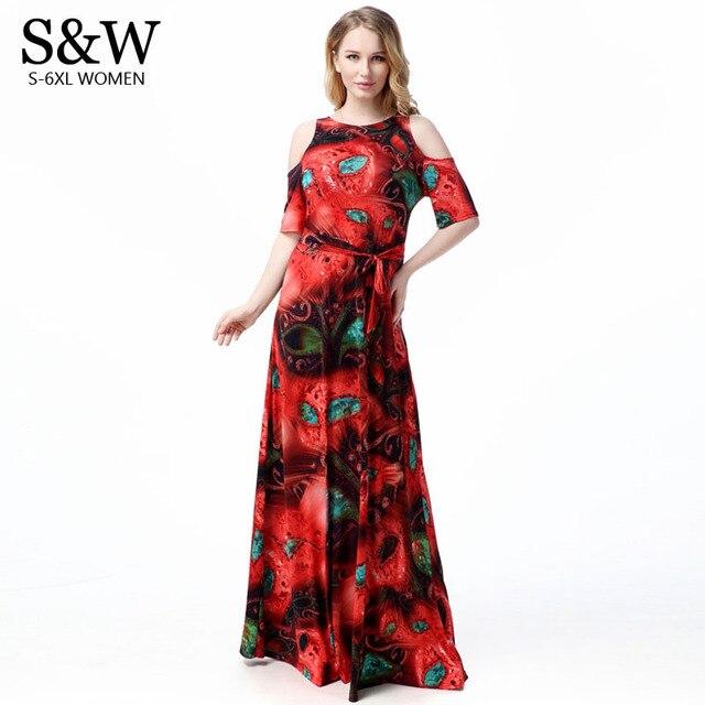 XL-5XL 6XL 7XL Plus Size Women Cloth Sexy Red Long Summer Dress Maxi Beach Dress  vestidos largos de verano dcba7931bfe3