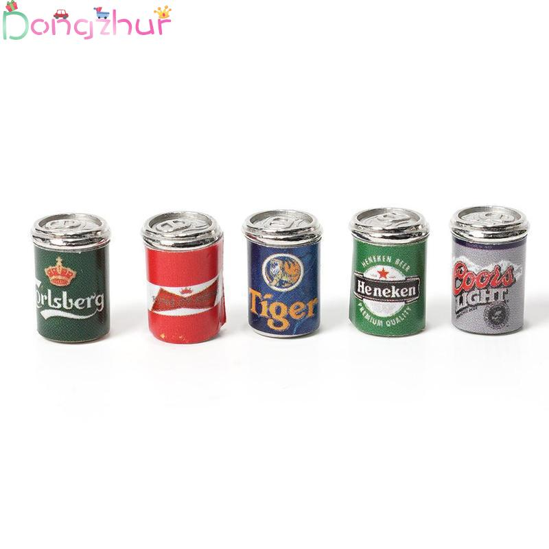 5pcs/lot Bottles Beer Cans 1:12 Miniature Dollhouse Furniture Dollhouse Mini Doll Model Cans Crafts Dollhouse Accessories Gifts