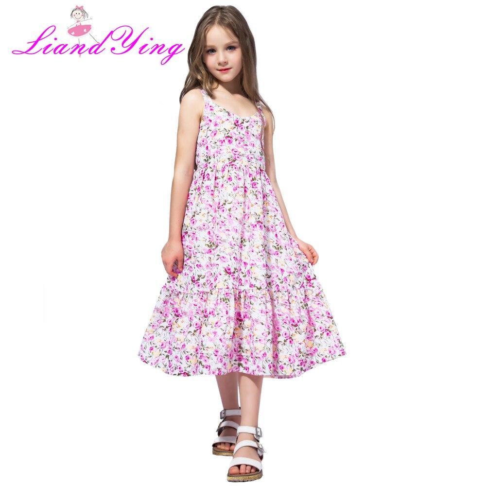 Playa verano 2018 Casual flor adolescente princesa niños Vestido ...