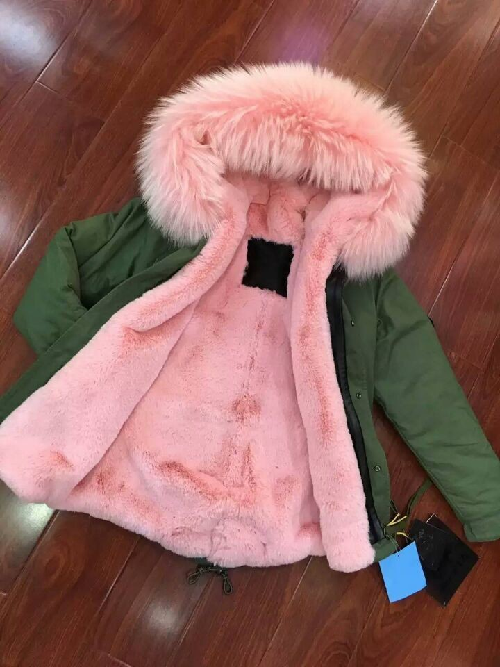 Damen jacke mit rosa fell