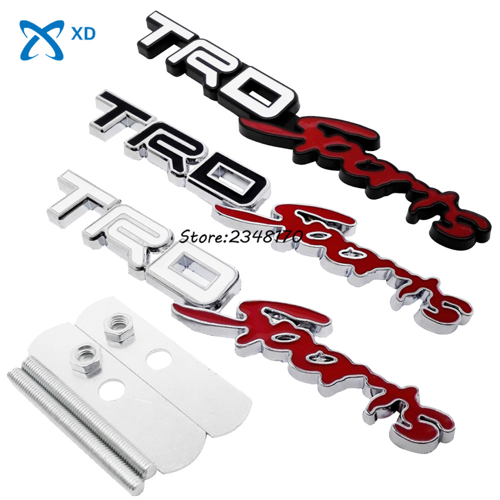 Auto car accessories grille turning logo emblem grill badge 3d metal car front hood for trd