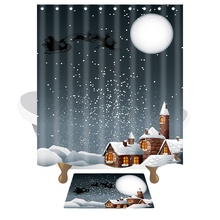 купить Christmas gifts Santa Claus Shower Curtains Waterproof Mildewproof Polyester Fabric Bath Curtain Mats Bathroom Product 10 Hooks  онлайн