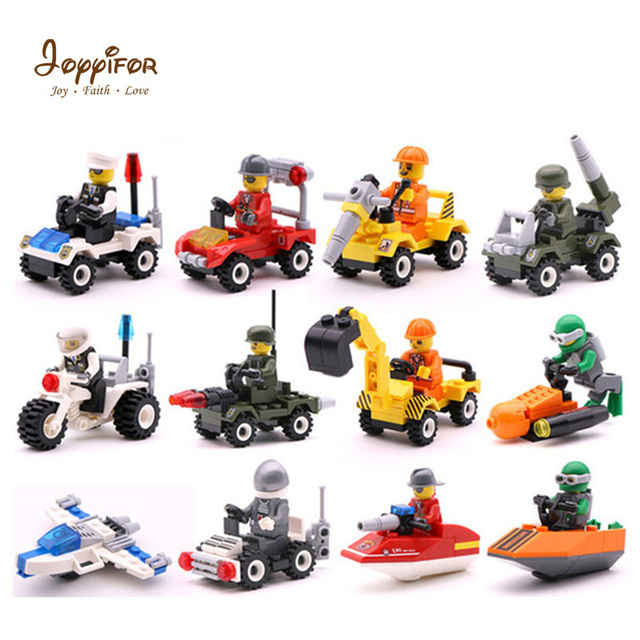 12 Kinds Original Mini Transportation Car Building Block Compatible Duplo Soliders army Police moto boot air fly Bricks