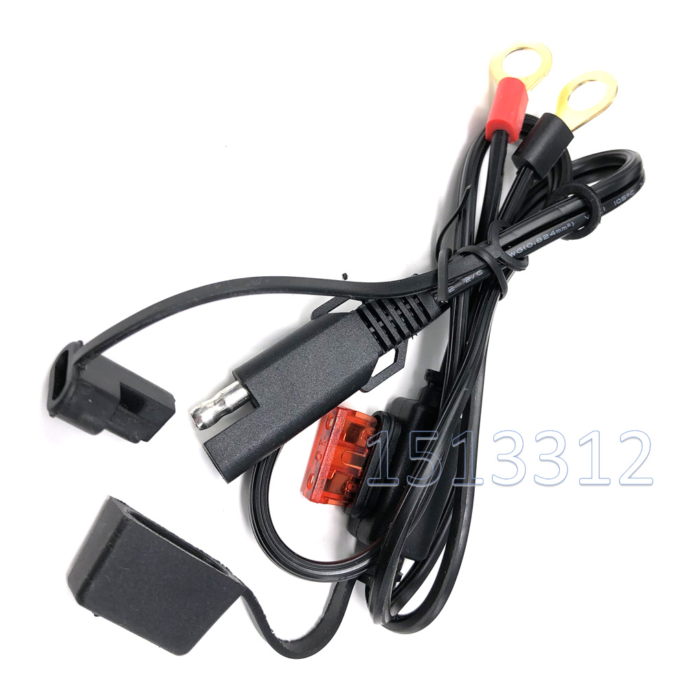 60CM 18awg SAE Connector Cable Ring Terminal Battery Charger Quick Disconnect SAE Extension Cord Motorcycle Car Tractor 10A Fuse