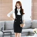 Novelty Fashion Work Wear Suits With Dress And Blouses 2016 Spring Autumn Formal OL Styles Professional Office Outfits Set