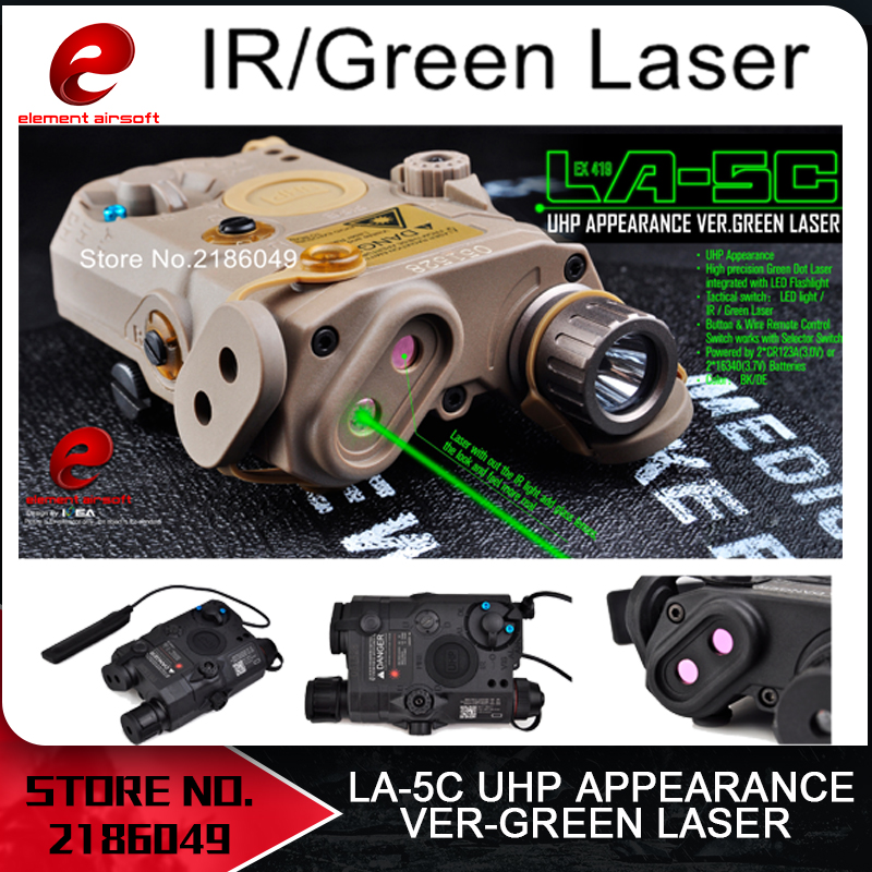Element Airsoft Tactical Flashlight PEQ Green Laser LA-5C UHP IR Laser LED IR Laser LA5 softair tactical light LA5C EX419 sinairsoft tactical peq 15 red laser with white led flashlight torch ir illuminator for airsoft hunting outdoor