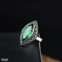 KJJEAXCMY fine jewelry S925 pure silver jewelry Thai silver lady cut green crystal ring