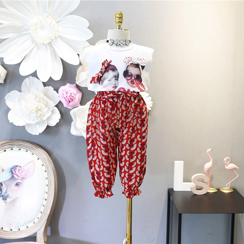 3-7Y Trend Ladies Summer season Clothes Child Vest Prime + Printed Pants Leggings 2pcs Outfits Youngsters Garments Toddler Lady Garments Clothes Units, Low cost Clothes Units, Three 7Y Trend...