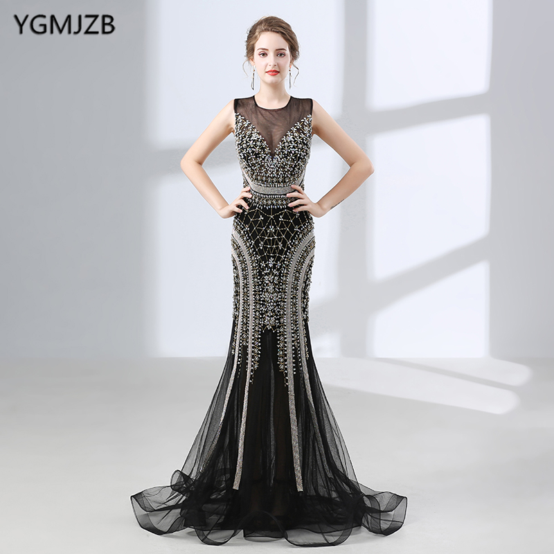 Luxury Mermaid   Evening     Dresses   2018 Beaded Crystal Backless Black African Women Long Formal Prom   Evening   Gown Robe De Soiree