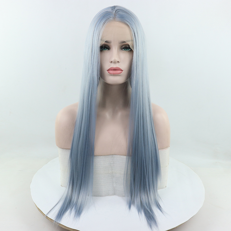 Fantasy Beauty Light Blue Long Straight Synthetic Lace Front Wigs Heat Resistant Fiber Hair Replacement Wig