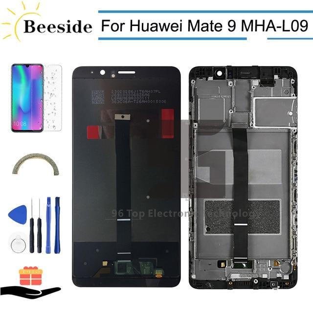 AA + 品質液晶 + フレーム Huawei 社メイト 9 MHA L09 MHA L29 MHA TL00 MHA AL00 Lcd ディスプレイタッチスクリーンデジタイザ国会交換