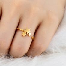 2019 New Stainless Steel Rings for Women Classic Star Golden Silver Color Ring Fashion Party Wedding Jewellery Gifts Resizable(China)