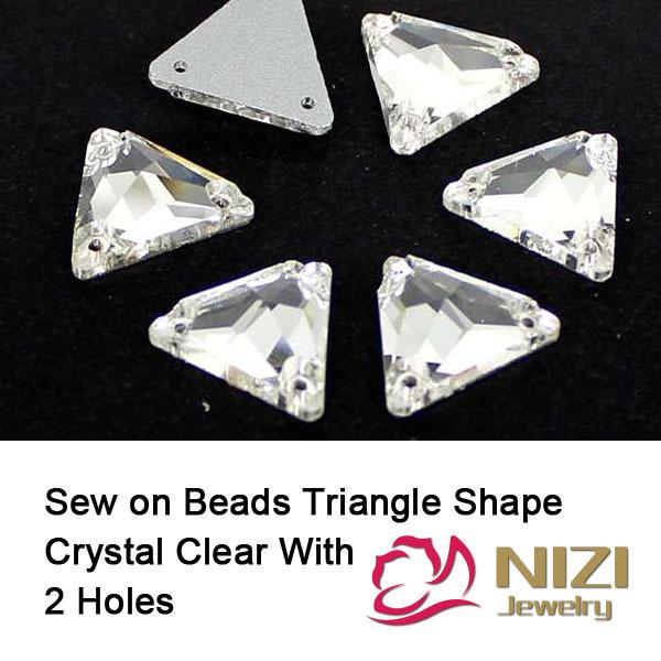 High Shine Glass Beads12mm 16mm 22mm Triângulo Natator Crystal Clear Grânulos de vidro de Vidro Costurar Em Grânulos de DIY Para O Vestuário de Costura contas