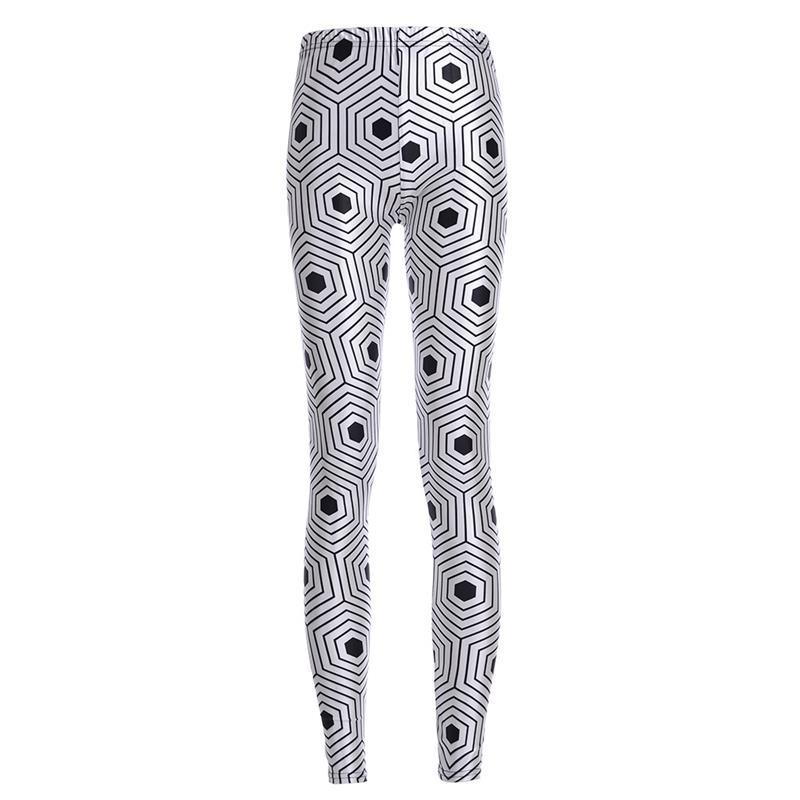 FOXOU Trendy Garment Store Geometric Style Sexy Women Leggings Trousers Yoga Fitness Elastic Tights Breathable Black White Hexagon Lady Gym Pants S-4XL