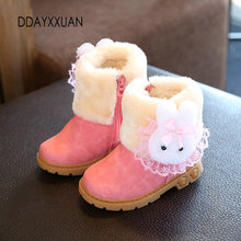 New Children Boots Thick Warm Shoes Girl Cotton-Padded Suede Zip Mid-Calf Snow Boots Boys Candy Color Boots Kids Winter Shoes