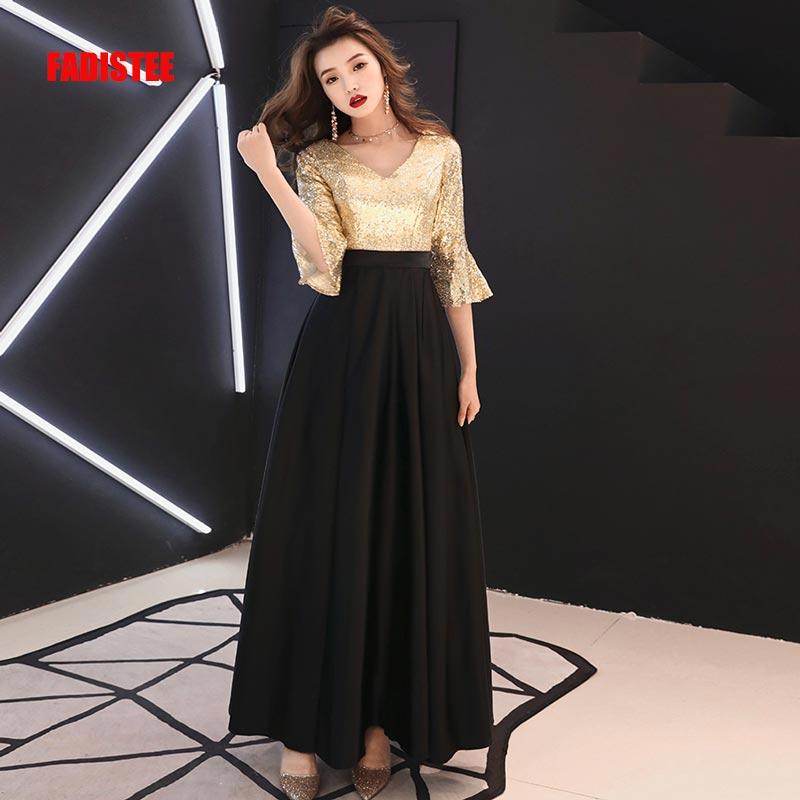 FADISTEE New Vestido De Festa Sweet Long   Evening     Dress   Bride Party pagoda sleeves sequins Prom   Dresses   gold black 2019