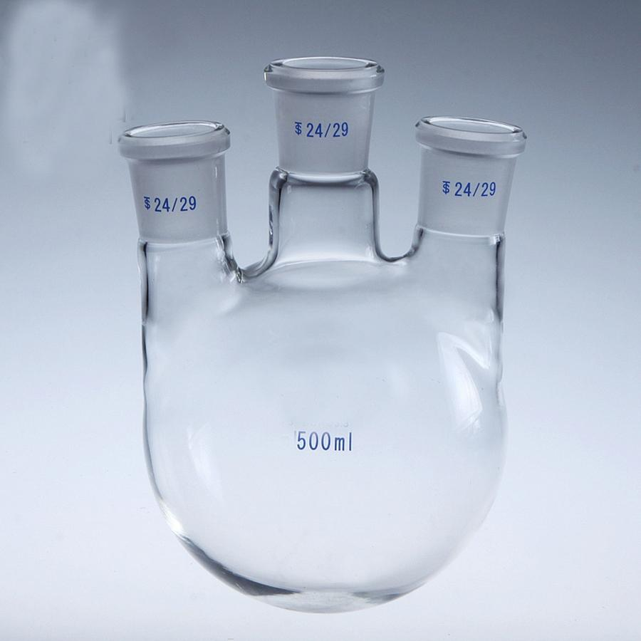 500ml Laboratory Borosilicate Glass 24/29 Joint Glass Flask round bottom with Vertical 3-Neck Graduated 300mm 24 29 joint borosilicate glass jacket allihn bulb condenser distillation for laboratory