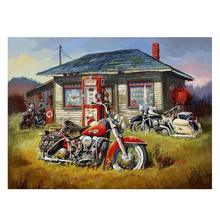 Full square dirll 5d diy diamond painting motorcycle house 3d pictures cross stitch mosaic embroidery,gifts