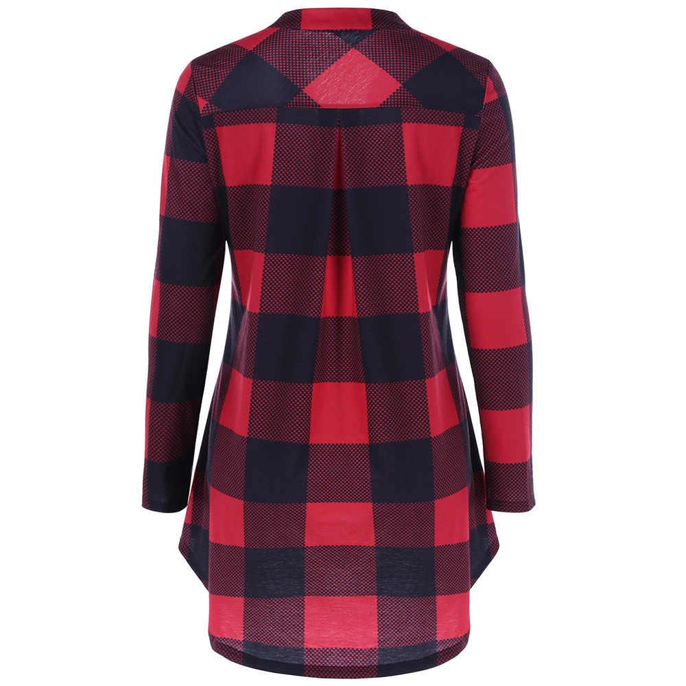 Wisalo повседневные клетчатые женские футболки, красные, черные, в клетку, в стиле бойфренда, с длинными рукавами, рубашки, свободная рубашка, топы, осень, большие размеры 5XL