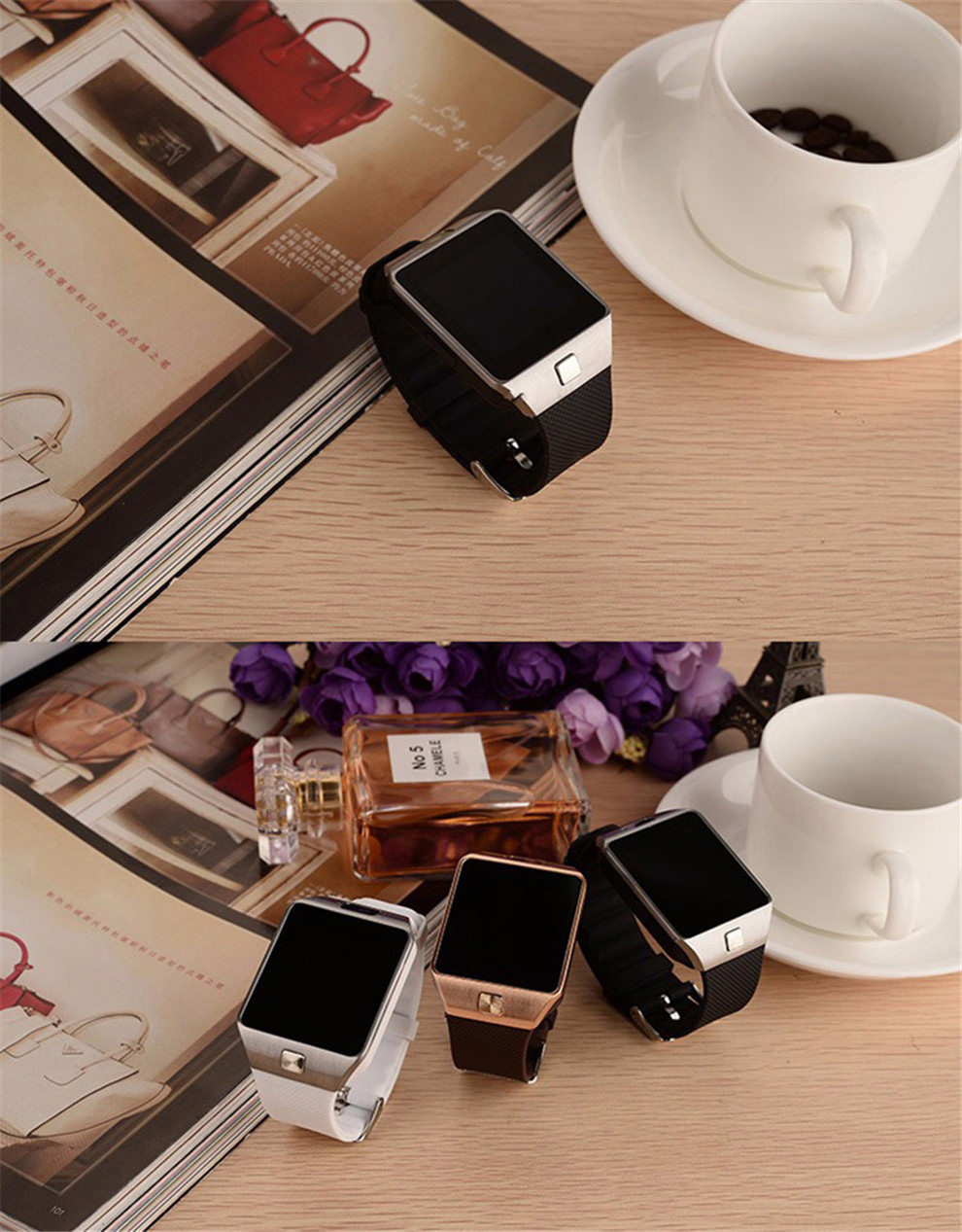 Montre Smart Watch DZ09 Or Orange Blanc Noir Smartwatch Bluetooth Montres Pour IOS Android Iphone Carte SIM Caméra