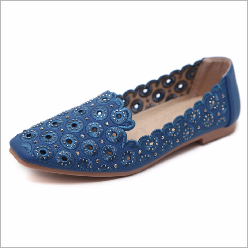 Fashion Crystal Slip-On Square Toe Loafers Flat With Heels Flock Casual Women Shoes Hollow out Women Flats Shoes Plus Size Q0087 new 2017 spring summer women shoes pointed toe high quality brand fashion womens flats ladies plus size 41 sweet flock t179