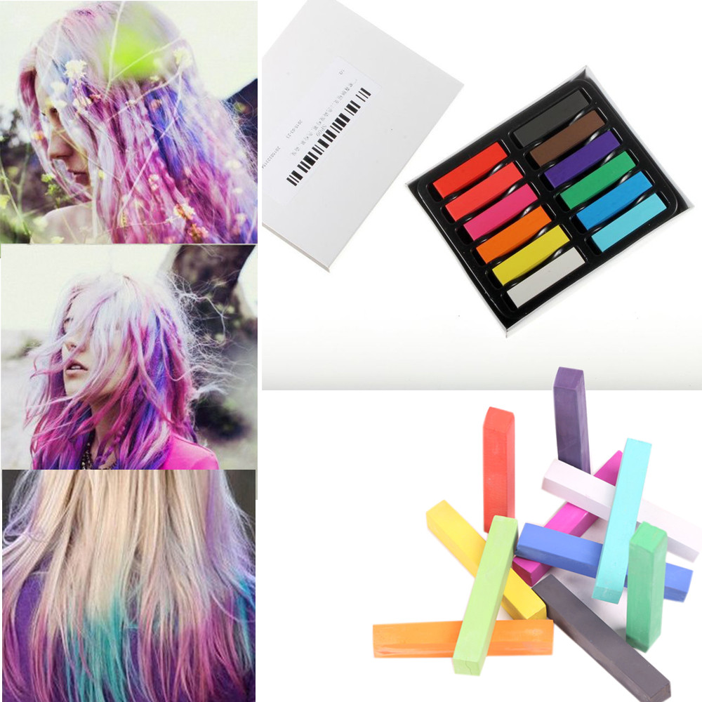 US $3.97 31% OFF|12 Colors Disposable Fluorescent Crayons Hair Coloring Rod  Hair Coloring Chalk JUL28 Drop Shipping-in Hair Color from Beauty & Health  ...