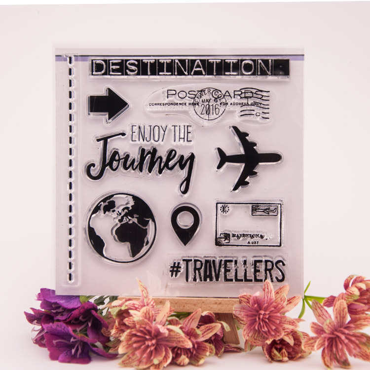 Scrapbook DIY rubber stamp album cards PDA finished Chapter transparent stamp postmark FIG travel Earth YJ6630 scrapbook diy photo cards account rubber stamp clear stamp finished transparent chapter wall decoration 15 18