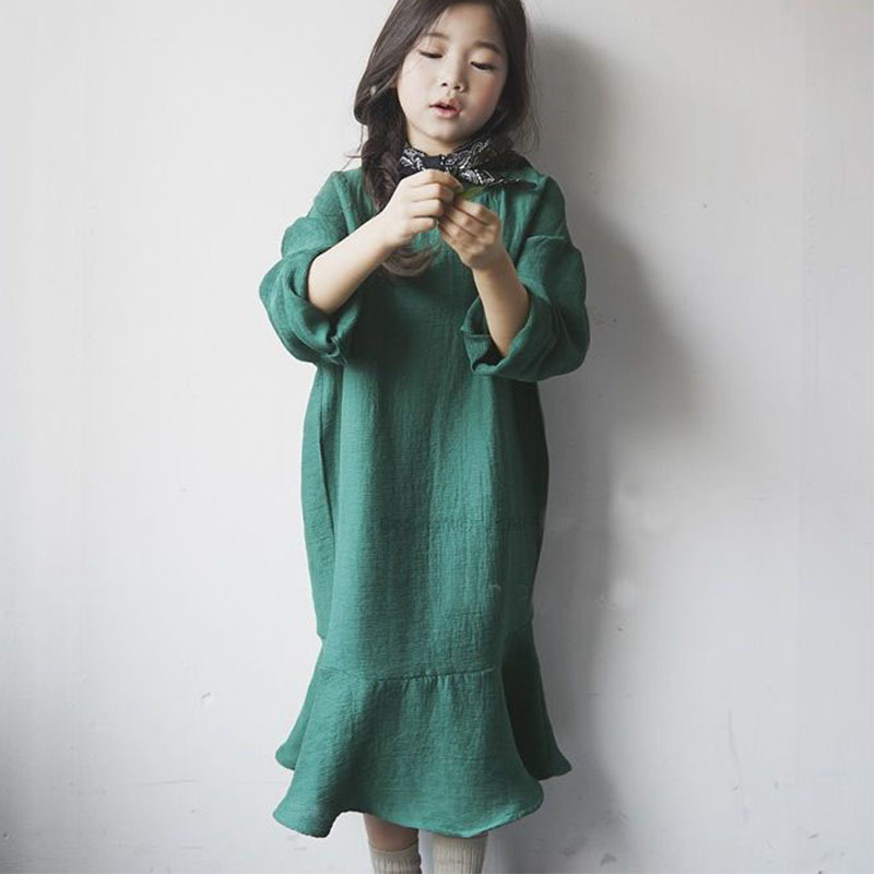 ruffles korean kids clothes girls dress long sleeve spring autumn maxi long big children dresses girls new 2018 clothing нож для травы husqvarna 255х20мм multi 255 3 5371489 03