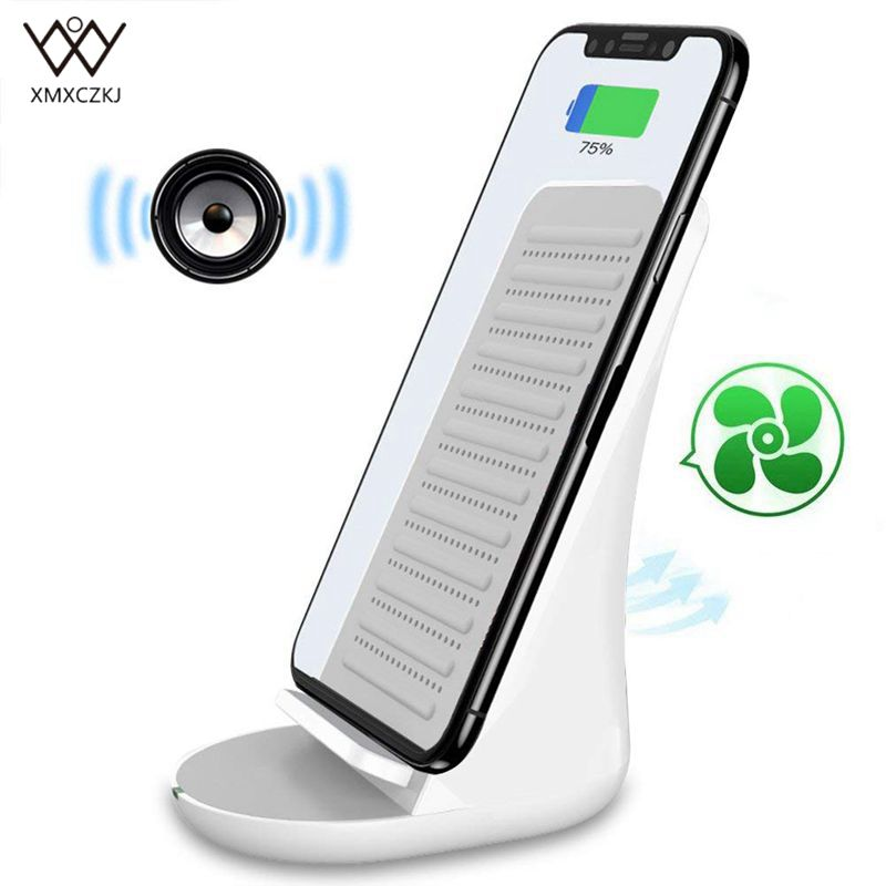 XMXCZKJ Bluetooth Speaker with Wireless Charger Fast Wireless Charging Docking Station Stand for iPhone X/8 Samsung Note 8