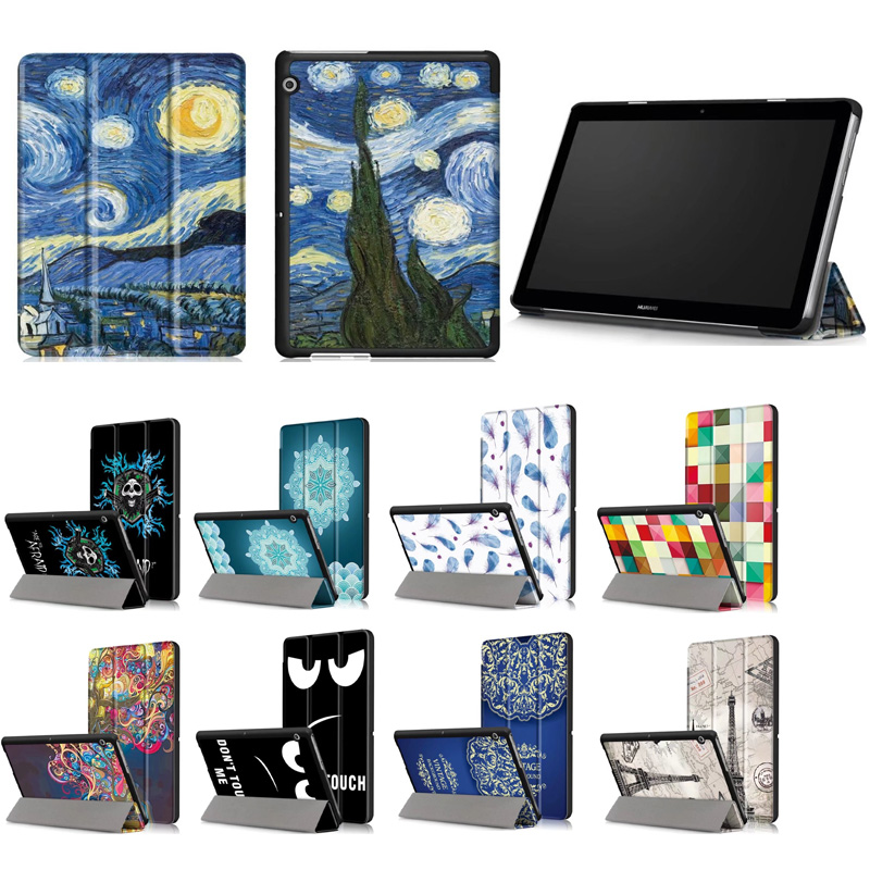 Case For Huawei MediaPad T3 10 AGS-W09 AGS-L09 AGS-L03 9.6 Cover Funda Tablet for Honor Play Pad 2 9.6 Slim Flip Case case for huawei mediapad t3 10 ags l09 ags l03 9 6 inch cover funda tablet for honor play pad 2 9 6 cover case with hander strap