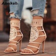 e643c4d61beb Aneikeh Sandals Women Fashion Open Toe Rhinestone Design High Heel Sandals  Crystal Ankle Wrap Glitter Diamond Gladiator Sandals
