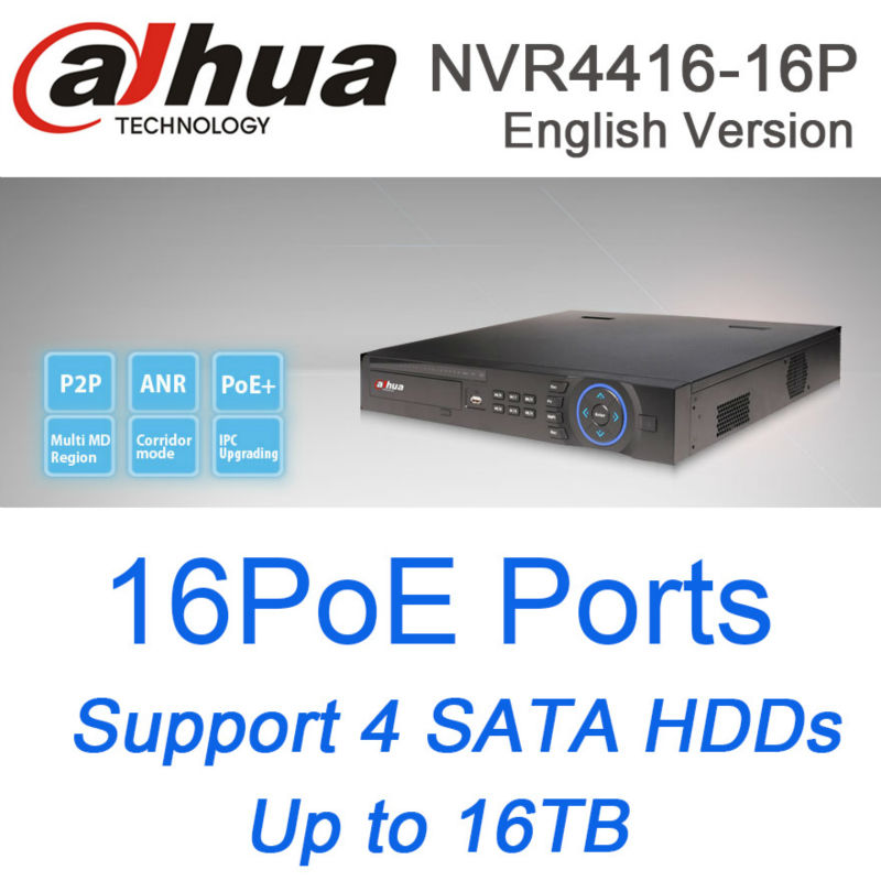 original English version dahua nvr 16ch 16 PoE ports NVR4416-16P 4HDDs support up to 5MP Recording onvif network video recorder 16ch poe nvr 1080p 1 5u onvif poe network 16poe port recording hdmi vga p2p pc