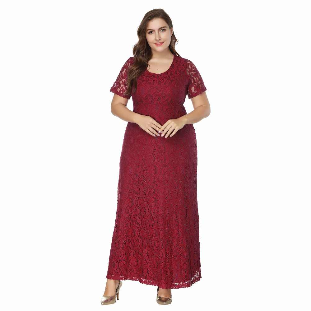 ... 2018 Summer women Elegant plus size lace long Dress female Ankle-Length  maxi Dresses lady ... 19e6ae218806