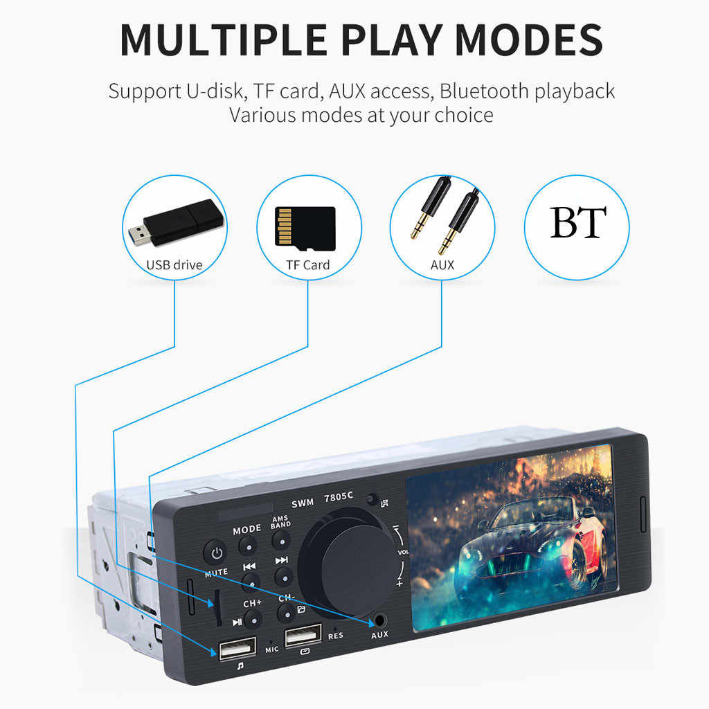 "OMESHIN MP5 自動メディアプレーヤーダブル Dins USB Bluetooth オーディオカーラジオ Multimidia MP5 12 12V FM HD 4.1"" タッチスクリーンステレオ Jly16"