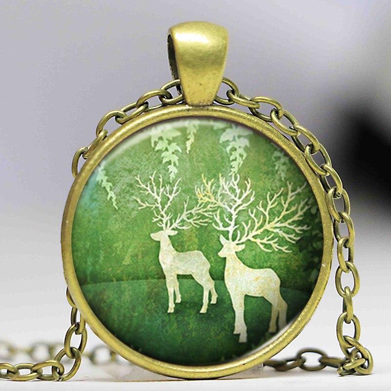 Cabochon Verre Collier Argent//Noir//Bronze Pendentif ( Joyeux Noël Cadeau