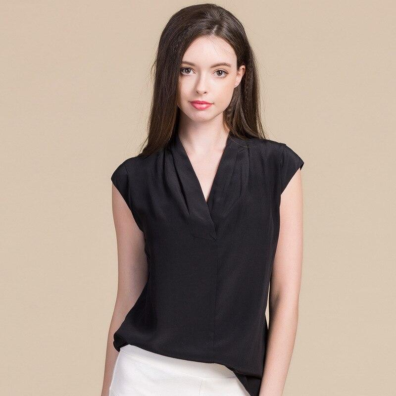 Xl Lâche burgundy Fond Sans Sauvage Manches M Cou Xxl Pull Femelle white Black De T 100 V Crêpe Femmes Soie shirt Tempérament Shirt Taille L gray wgqWPRpC