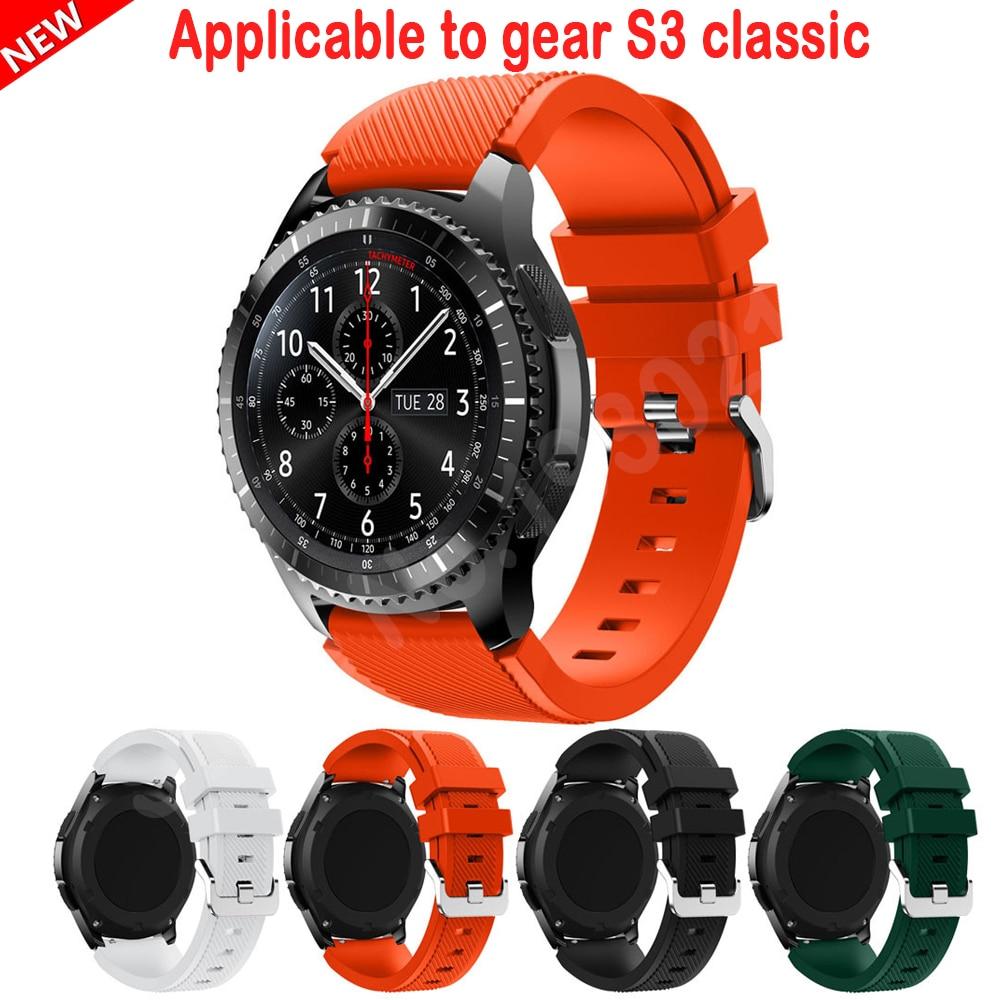 Prix pour 20 pcs/lot vente chaude bracelets noir 22mm de luxe marque de mode sport bracelet en silicone bracelet bande pour samsung gear s3 frontière