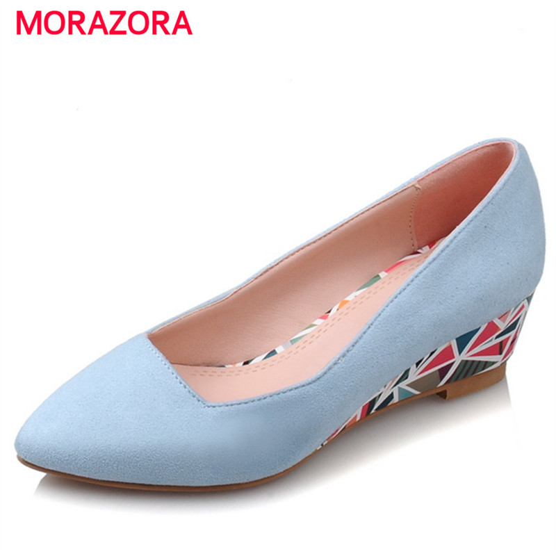 MORAZORA 2018 Spring womens pumps PU nubuck leather sexy high heels shoes shallow pointed toe wedges shoes party size 34-40MORAZORA 2018 Spring womens pumps PU nubuck leather sexy high heels shoes shallow pointed toe wedges shoes party size 34-40