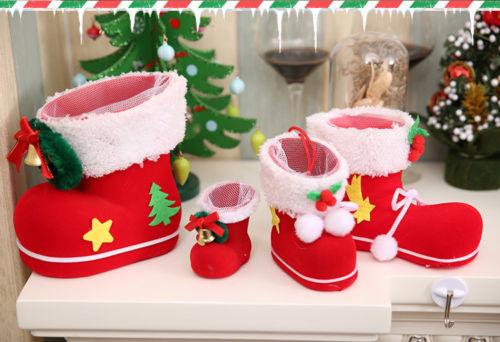 Santa Boots Socks Candy For Kid Winter Flocking Christmas Tree Decor Gift Bag WE