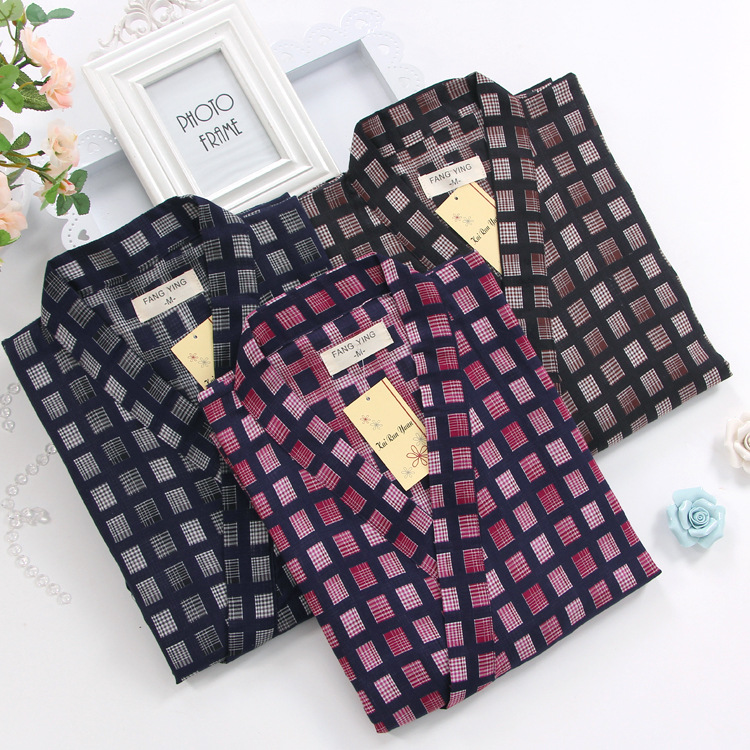 Men Plus Size Cotton Nightgown Bathrobe V-Neck Mens Kimono Robe Plaid Japanese Style Clothes Autumn Loose Sleepwear Home Clothes