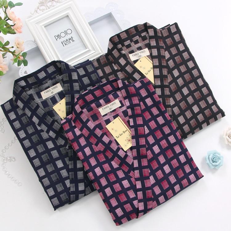 Men Plus Size Cotton Nightgown Bathrobe V-Neck Mens Kimono Robe Plaid Japanese Style Clothes Autumn Loose Sleepwear Home Clothes