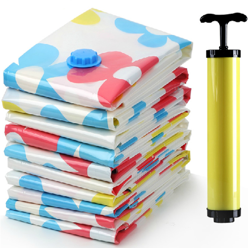 11pcs! Space Saving Storage Bags Vacuum Seal Hand Vacuum Pump Clothes Bedding Compressed Organizer Package Bag S/M/L