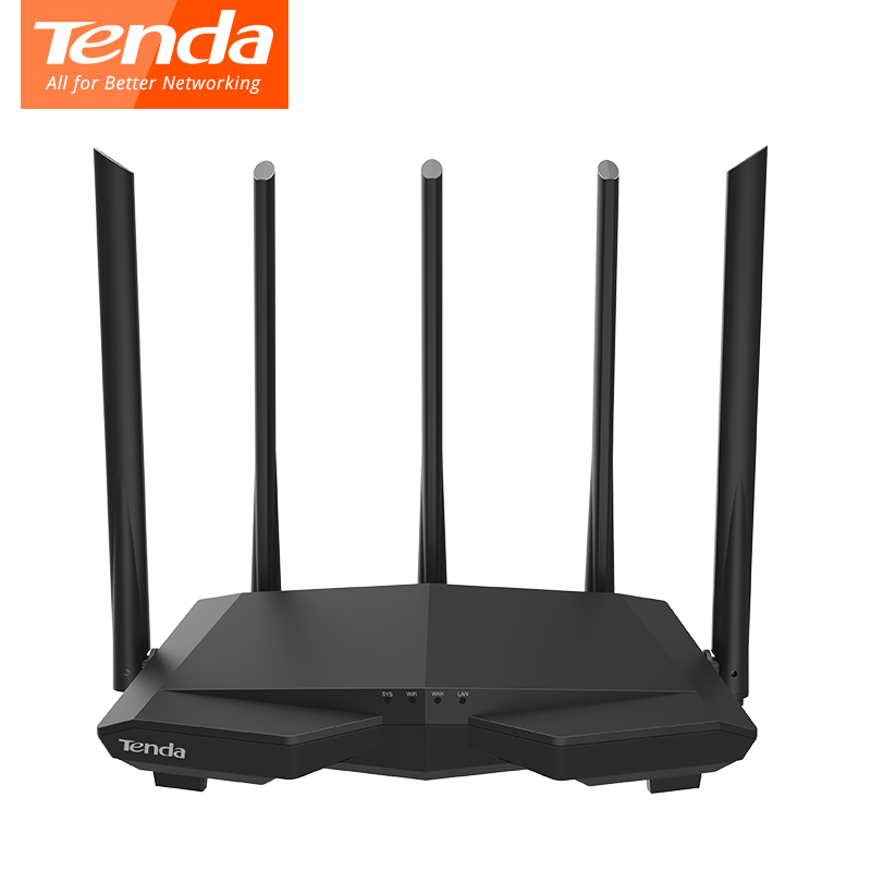 Tenda AC7 Wireless Wifi Routers 11AC 2.4Ghz/5.0Ghz Wi-fi Repeater 1*WAN+3*LAN Ports 5*6dbi High Gain Antennas Smart APP Manage