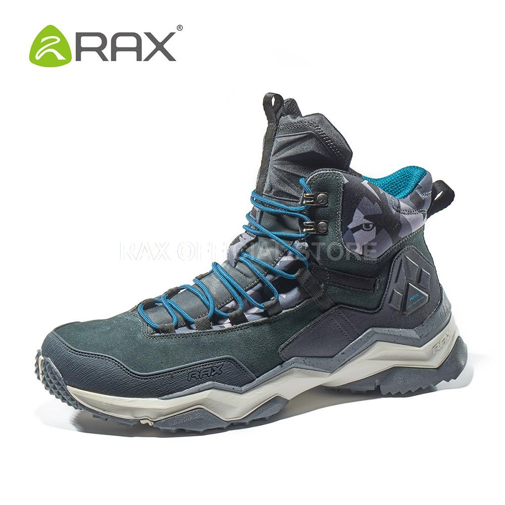RAX Mens Waterproof Hiking Shoes Genuine Leather Mountain Hiking Boots Men Breathable Trekking Shoes Outdoor Man Climbing Shoes camssoo men s winter outdoor trekking hiking boots shoes for men warm leather climbing mountain boots shoes man outventure