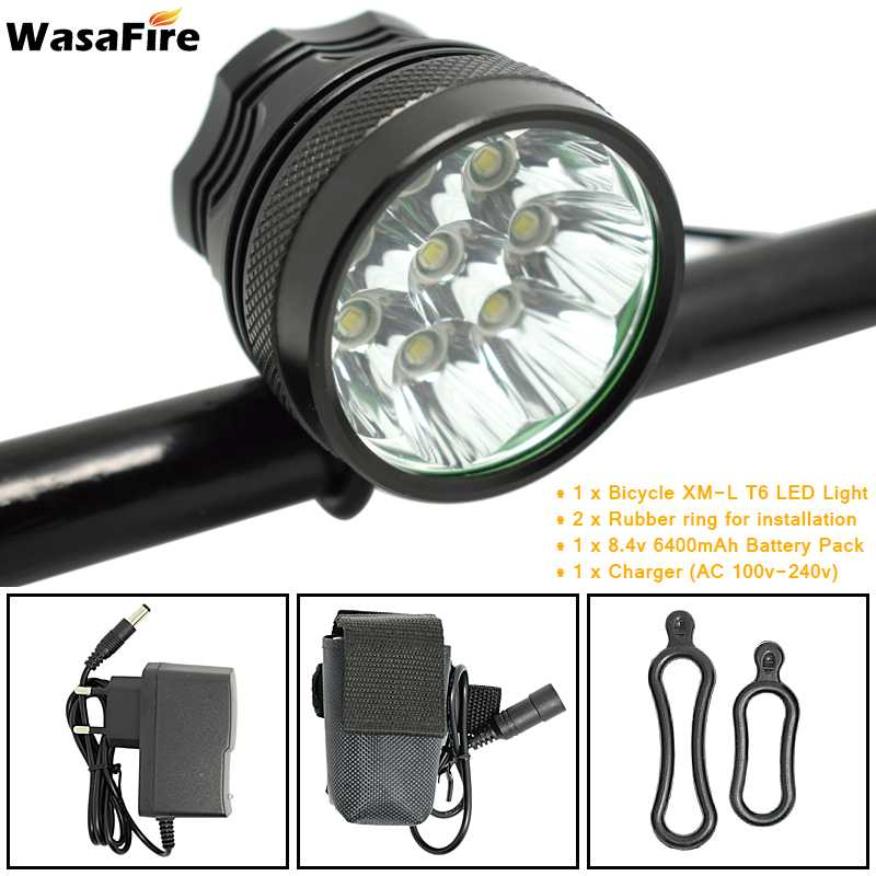 WasaFire LED Cycling Light 8* XM-L T6 LED 3 Modes 12000lm Bike Front light 4*18650 battery pack charger Headlamp Front Lights wasafire focusing wide beam 1800lm xm l u2 3 modes zoomable led bicycle light 4 18650 battery charger bike light front head lamp