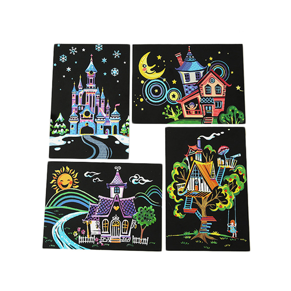 4pcs Toddle Girl Magic Scratch Art Painting Paper With Drawing Stick Kids Toy US